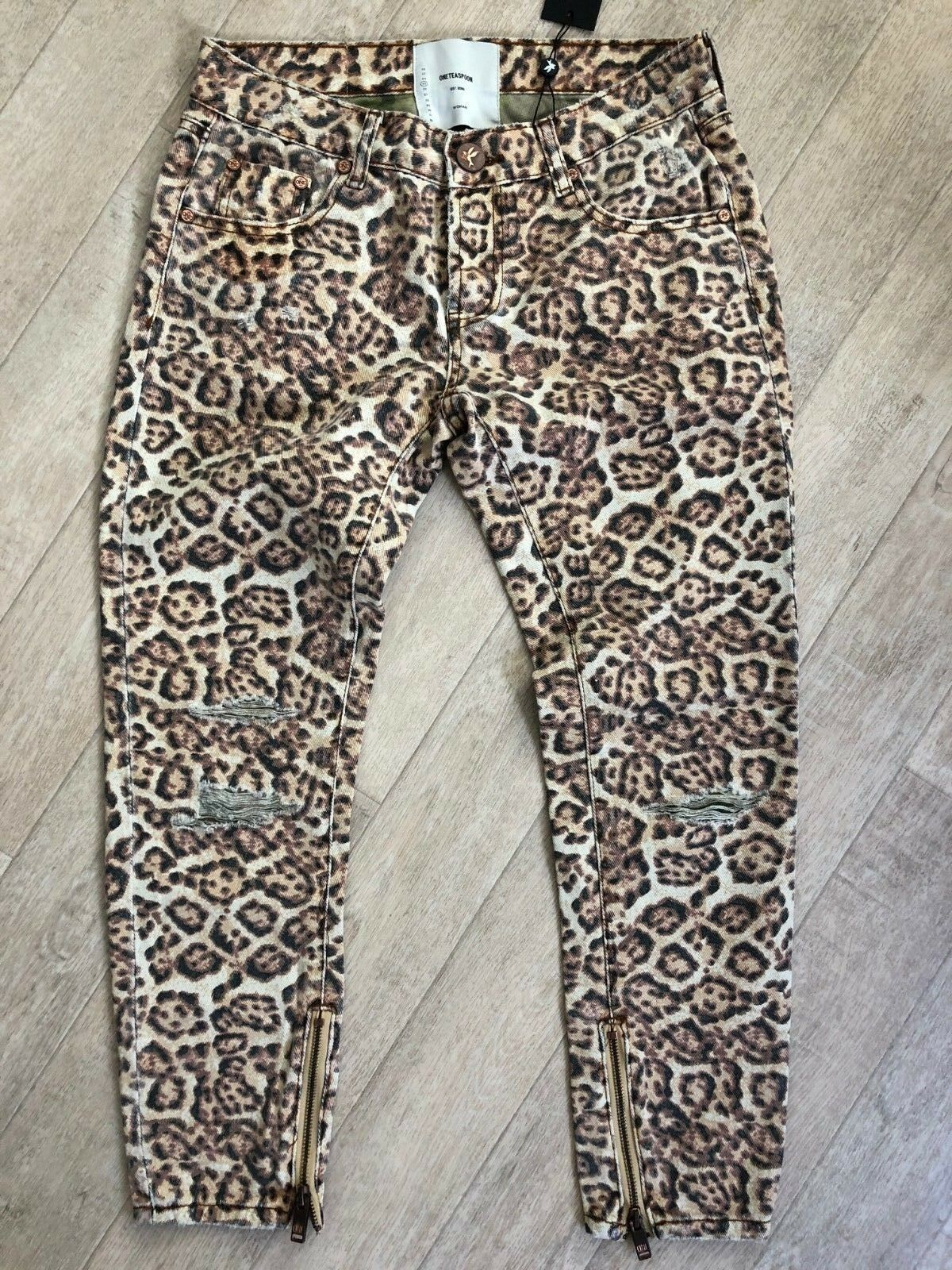 One Teaspoon Leopard Freebirds Jeans 23-31 Distressed Low W Ripped NWT