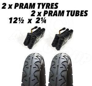 2 x Pram Tyres & 2 x Tubes 12 1/2 X 2 1/4 Slick Bumbleride Indie Graco Hauck