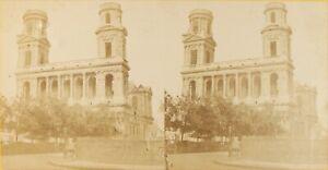 Francia Parigi Chiesa Saint-Sulpice, Foto Stereo Vintage Albumina P61L8n23