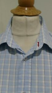 Mens-Fred-Perry-Light-Blue-Check-Short-Sleeve-Shirt-Size-Large-P2P-23-039-039