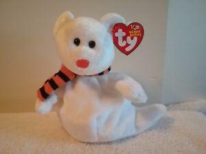 "Ty Beanie Babies ""Quivers"" White Halloween Bear Plush 6"" Stuffed Animal NEW"