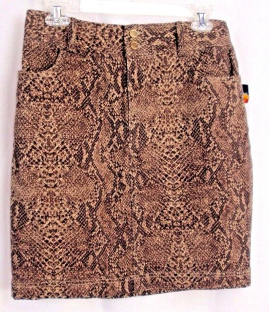 fcc1a0f122 CHAPS Brown Faux Snakeskin Print Flat-Front Stretch Denim Pencil Skirt Sm  Casual