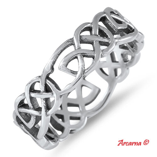 925 Sterling Silver Celtic Wedding Ring Sizes J -X