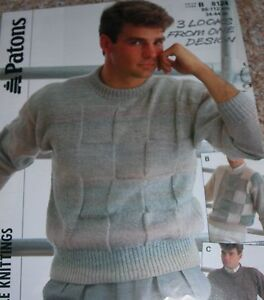 Patons Knitting Pattern Man039s DK Round Neck Colour Block amp Textured Sweaters - Manchester, Lancashire, United Kingdom - Patons Knitting Pattern Man039s DK Round Neck Colour Block amp Textured Sweaters - Manchester, Lancashire, United Kingdom