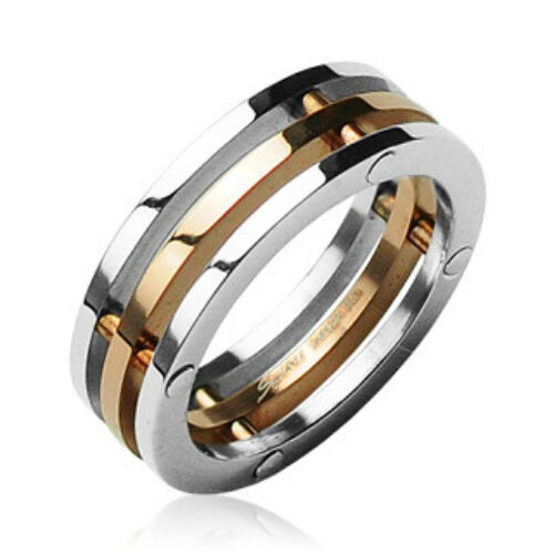 316L Surgical Stainless Steel Rings//3-Connected Pieces//IP Rose Gold Center
