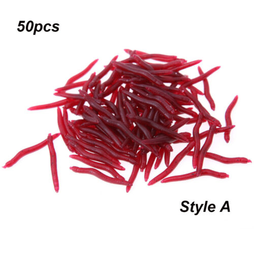 Soft Fishy Smell Tackle Trout EarthWorm bloodworm Fishing Lure Worm Red Baits