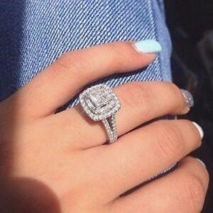 3 20ct Double Halo Princess Cut White Diamond Engagement