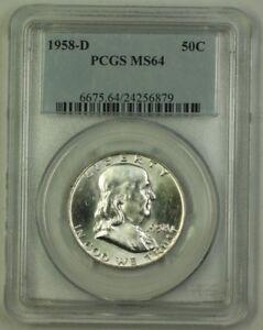 1958-D-US-Franklin-Silver-Half-Dollar-50c-Coin-PCGS-MS-64