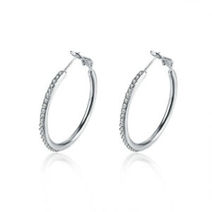Details About 18kt White Gold Plated Zig Zag Crystal Hoop Earrings With Swarovski Elements J
