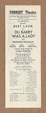 """Cole Porter """"DU BARRY WAS A LADY"""" Bert Lahr / Frances Williams 1940 Program"""