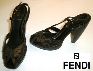b53872299c7 Image is loading FENDI-FENDI-ZUCCA-monogram-sandals-US-6-5-