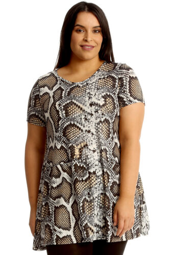 New Womens Plus Size Top Ladies Snake Skin Print Swing Tunic Skater Style Sale