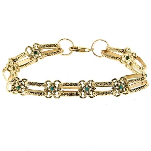 14K Yellow gold Turquoise Designer Bracelet