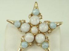 Vintage Glass Cabochon Star Pin Brooch Rhinestones Blue Beads