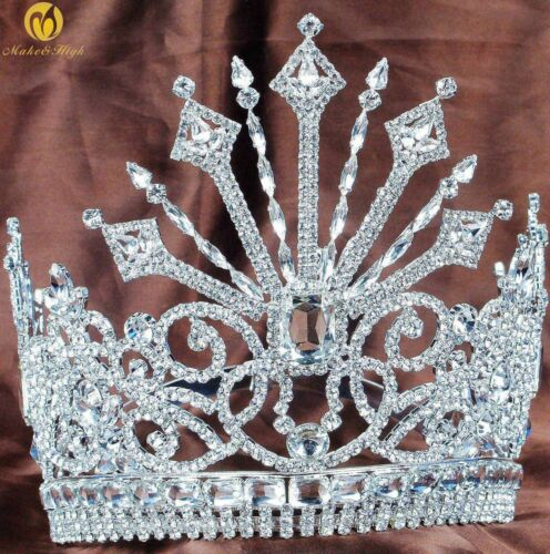 """Beauty Pageant Tiara 7/"""" Large Contoured Crown Crystals Headband Bridal Jewelry"""