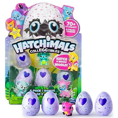 NEW HATCHIMALS COLLEGGTIBLES 4 PACK + BONUS (Styles & Colours may vary) 6034165