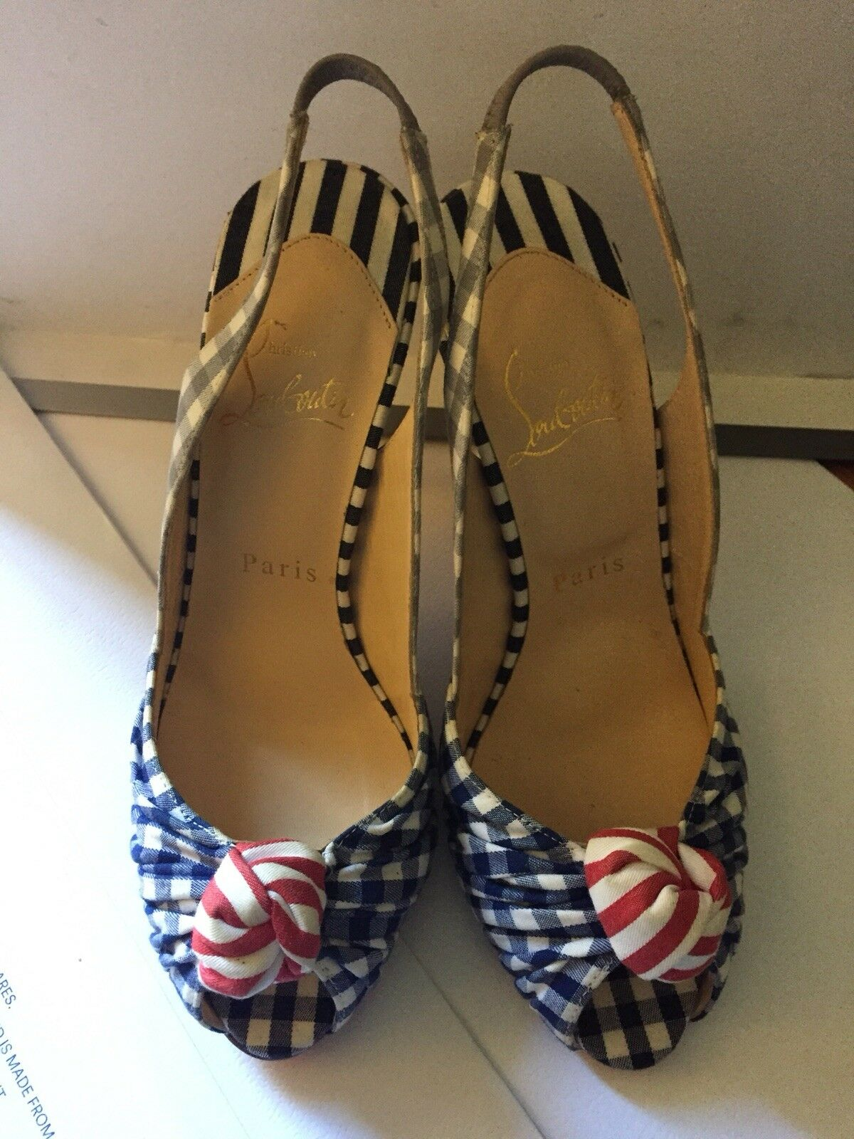 NEW NEW NEW and RARE Christian Louboutin Multi color Gingham Slingback Heels Size 36 0d79e4