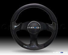 NRG Steering Wheel 14 Black Leather Carbon Fiber Black Spoke 350 mm ST-014-CFBK