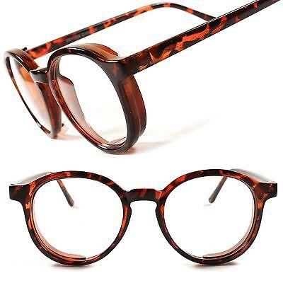 Cool Tortoise Stylish Retro Mens Womens Clear Lens EyeGlasses Round Frame C91B