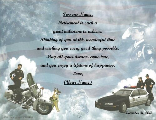 Retirement Gift for that Special Person ~ Personalized Poem Gift ~Police Print