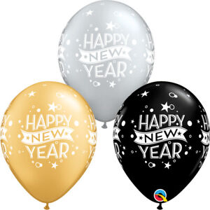 NEW-YEAR-039-S-EVE-BALLOONS-10-x-11-034-GOLD-SILVER-amp-BLACK-CONFETTI-DOTS-BALLOONS