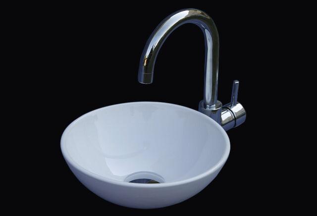 weiß Keramik rund Gäste WC Aufsatz waschtisch waschbecken waschschüssel 280mm