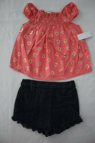 NEW Girls 2 pc Outfit Size 18 Months Peach Smocked Top Denim Shorts Set Hearts
