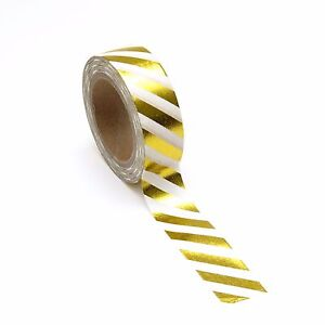 Foil Washi Tape Gold Candy Stripe 15mm x 10m