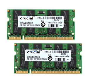 4GB-2x-2G-Crucial-2GB-2Rx8-PC2-5300-DDR2-667Mhz-200Pin-Laptop-Memory-RAM-6H