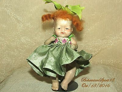 ANTIQUE 1930's JAPAN BABY GIRL BISQUE DOUBLE JOINT RED HAIR 4.5'' MINIATURE DOLL