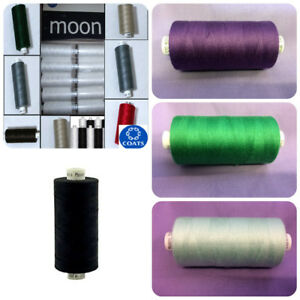 10 x WHITE//BLACK COATS MOON SPUN POLYESTER MACHINE AND HAND SEWING THREAD COTTON