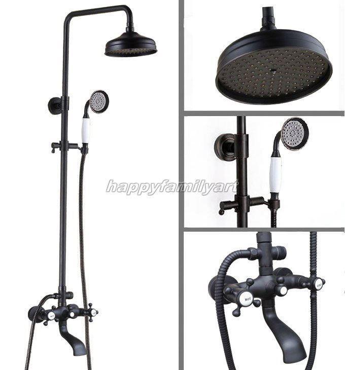 Nero lucidato olio ottone bagno pioggia rubinetto doccia Set vasca Miscelatore rubinetto yhg102