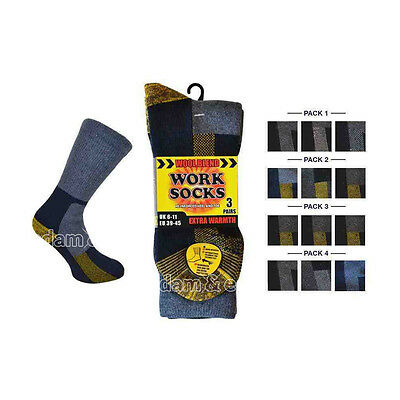 Verantwortlich Mens Wool Blend Work Socks Uk Size 6-11 Eu 39-45 Extra Warmth Reinforced Boot