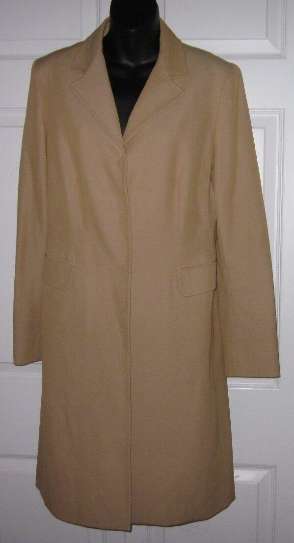 New Elie Tahari Wms Tan   Khaki Long Lite Weight Coat M Sharp Must C