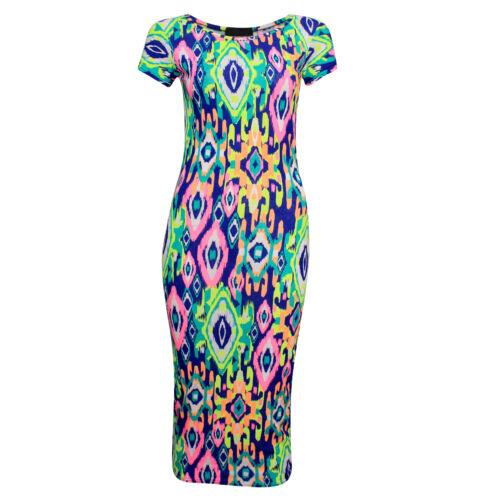 New Women/'s Printed Cap Sleeve Ladies Bodycon Midi Dress Size 8-10 /& 12-14