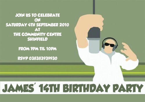 12 x Teenage Boys Disco Party Birthday Party Invitations Dude MicrophoneH0631