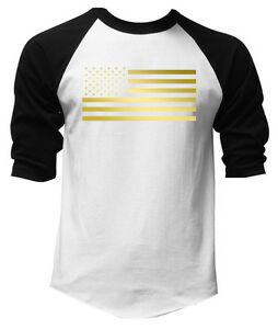 New Men/'s US Flag American White Black Baseball T Shirt raglan Anchor USA Tee