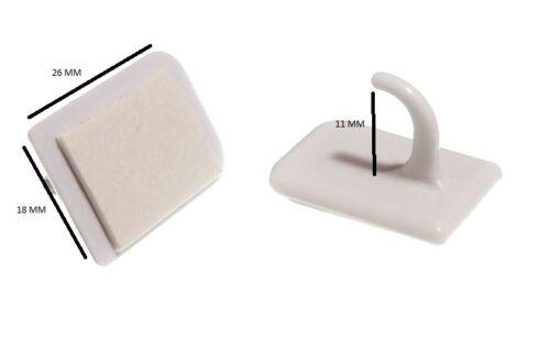 Auto-adhésif coller sur Centre Hooks Pour Filet Rideau Fil Blanc Pack De 10