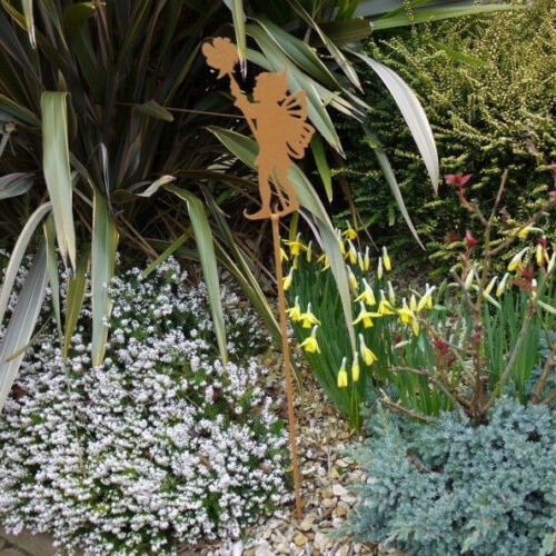 Rusted Metal Elf Fairy Flower Silhouette Stake Border Ornament Garden Decor 1M
