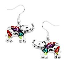 Multi-Color Elephant Fashionable Earrings - Fish Hook - Silver Plated