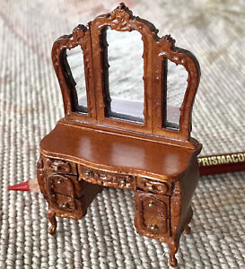 "Bespaq Walnut Dresser Vanity Dressing Table Chest HALF INCH 1:24 1/2"" Scale 2573"