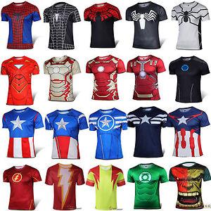 Men-039-s-Short-Sleeve-T-Shirts-Marvel-Superhero-Compression-Sport-Gym-Casual-Tops