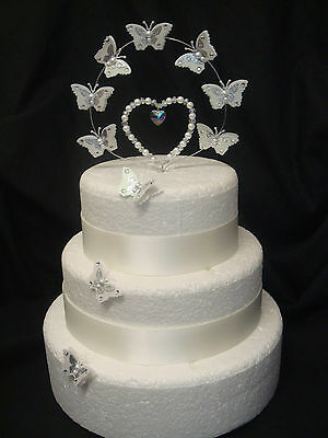 crystal pearl heart butterfly wedding anniversary cake topper set decoration