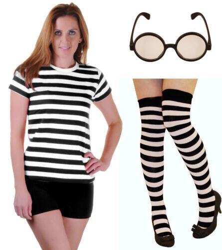 Nuevo Chicas Escolar Negro Blanco Camiseta con Rayas de Alice Traje Vestido Calcetines Gafas