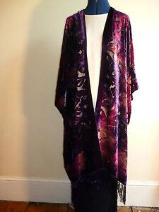 Velvet devore jacket Purple//pink floral design  Size to 28 NEW