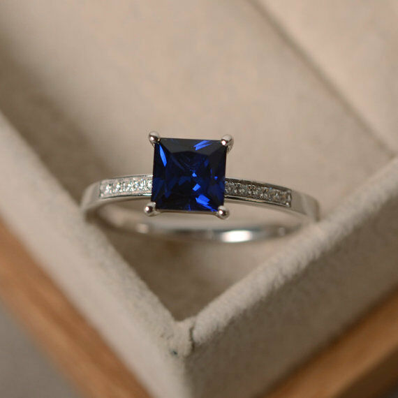 14K White gold bluee Sapphire Rings 1.40 Ct Real Diamond Engagement Ring Size 6 7