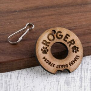 Personalised-Engraved-Wooden-Pet-ID-Collar-Tags-Cat-Dog-35mm-Donut-Shape-Tag