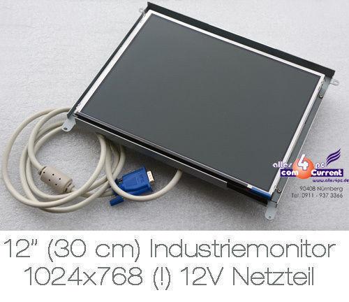 """12 """" 30.5cm 1024x768 Industriel Posmonitor Pistes 12 Volts Puissance Pour"""