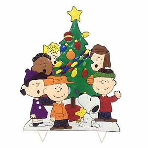 Details About Peanuts Gang Around Tree Yard Art Outdoor Christmas Decor Hammered Metal