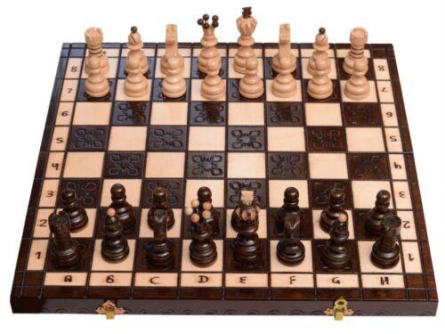 Schachspiel aus Holz Figuren Schachbrett edel handgefertigtes 43cm Kiste Groß!